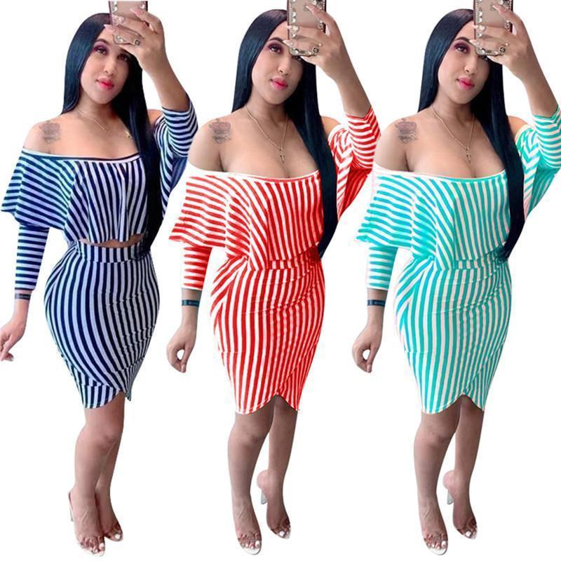 Women striped 2 piece dress ruffle sexy club t-shirt skirts sweatsuit crop top sheath column outfits pullover bodysuits summer clothes S-XXL