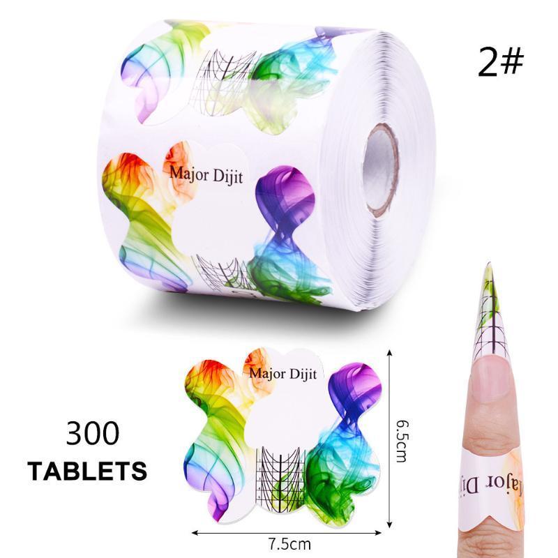 Consejos de extensión 500pcs / rollo de uñas Extensión del constructor Formulario guías coloridas del esmalte acrílico arte UV Gel