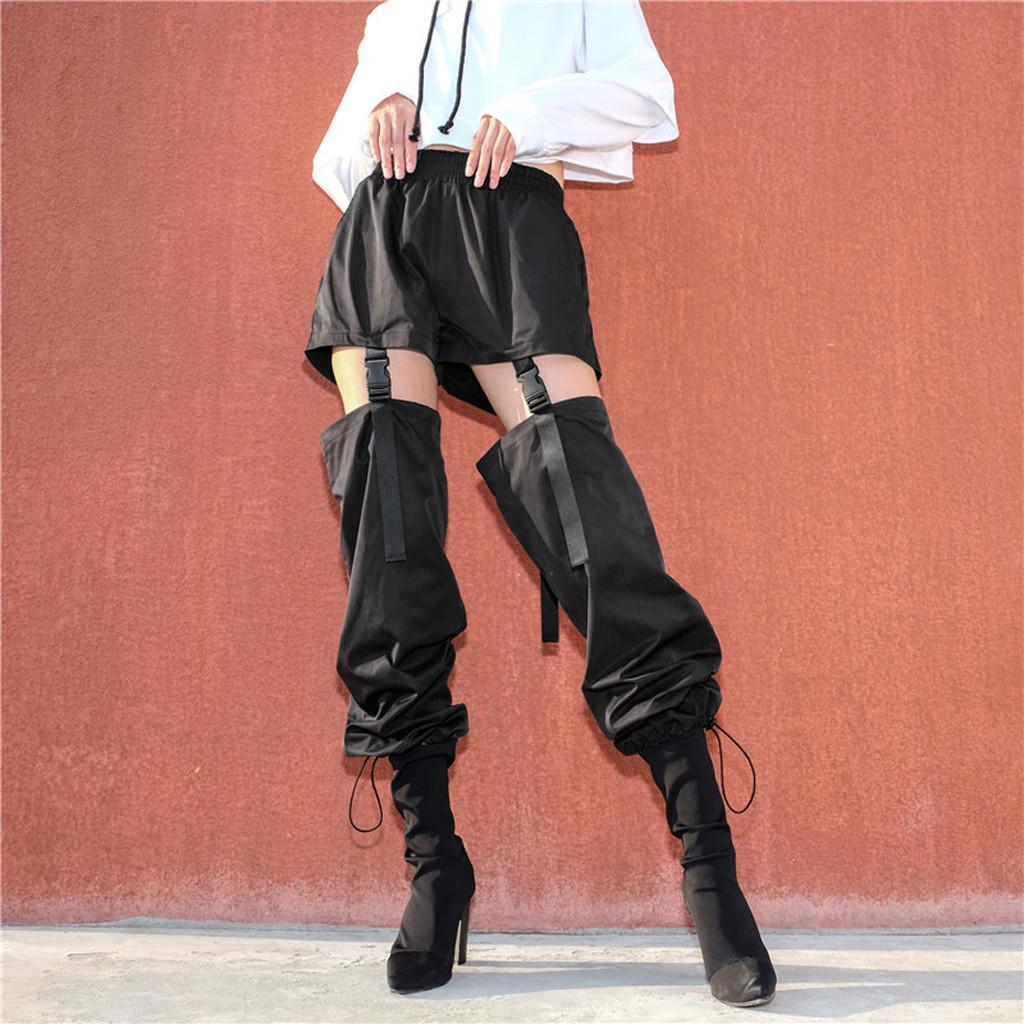 Pantalones de carga de cintura alta negros Bolsillos de mujer Patchwork Pantalones sueltos Streetwear Lápiz 2019 Moda Hip Hop Pantalones de mujer