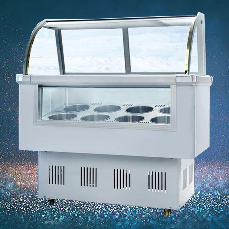 Comercial 10 barriles / 14 cajas duro congelador Gelato vitrina de helado de paleta congelador Escaparate Escaparate