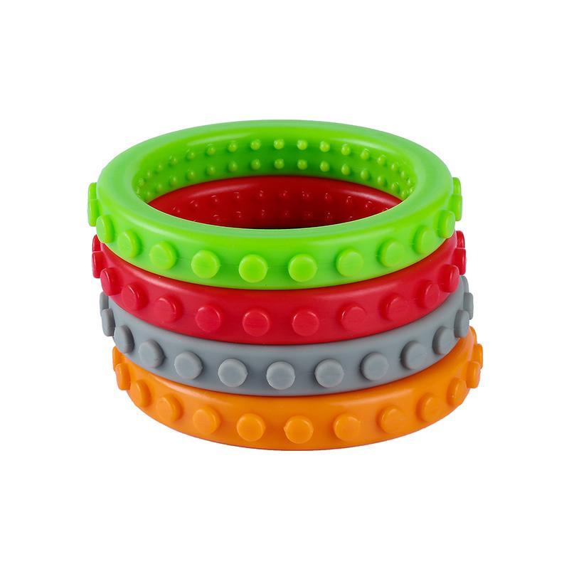 Pulsera de ladrillo con textura Chew aprobación del brazalete del bebé Teethers FDA silicona juguetes para la dentición del niño para el TDAH niños del autismo