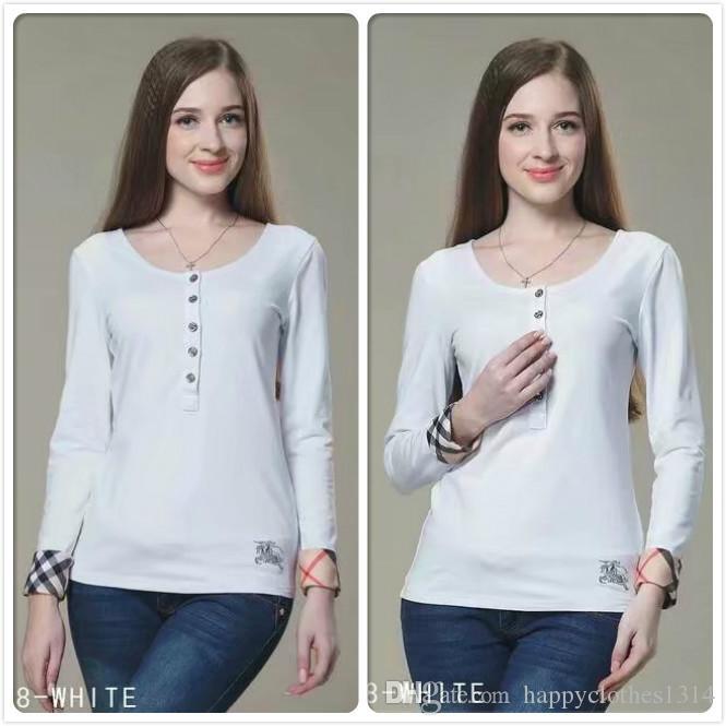 고품질 코튼 클래식 티셔츠 패션 여성 의류 가을 겨울 라운드 탑 티 비즈니스 사무실 레이디 슬림 맞춤 세련된 티셔츠 탑