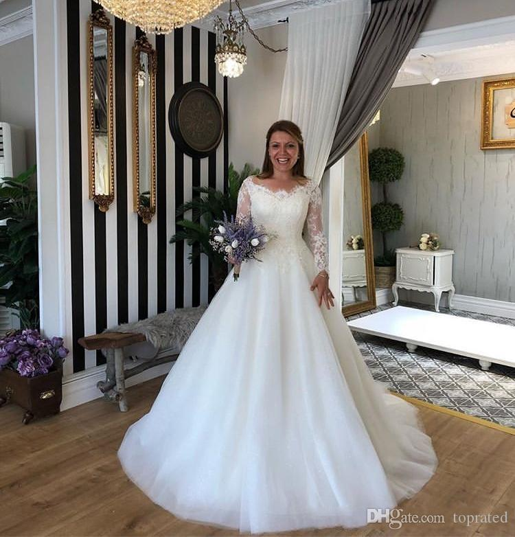 Ilusión del A-line romántico del boda vestidos de manga larga cremallera de la espalda de tren capilla más el tamaño de vestido de novia Vestidos de Noiva venta caliente