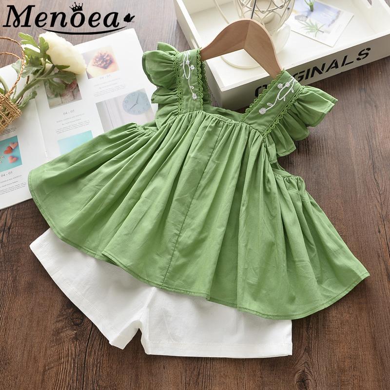 Menoea Çocuk Yaz Giyim Bebek T200613 Suits 2020 Yeni Stil Çocuklar Nakış Giyim Kız Kolsuz Elbise Suits ayarlar