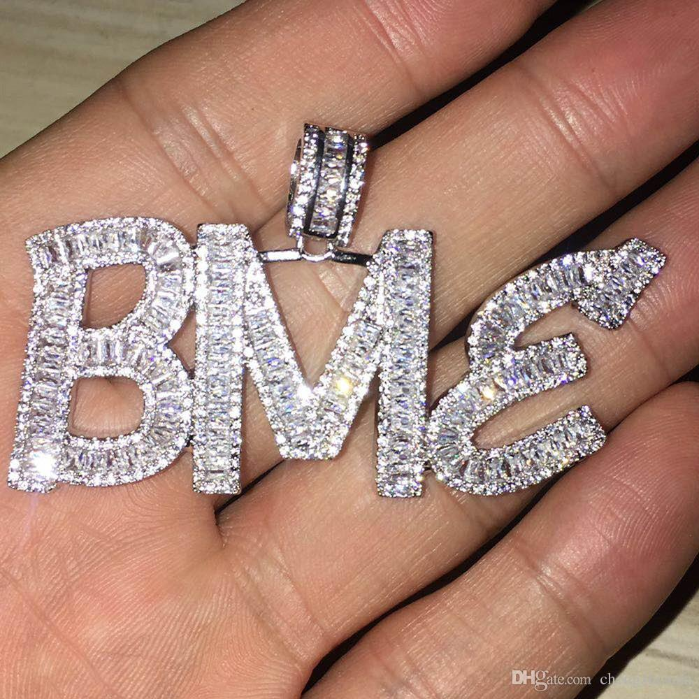 Custom Name Baguette Letters Hip Hop Pendant With Free Rope Chain Gold Silver Bling Zirconia Men Hip Hop Pendant Jewelry