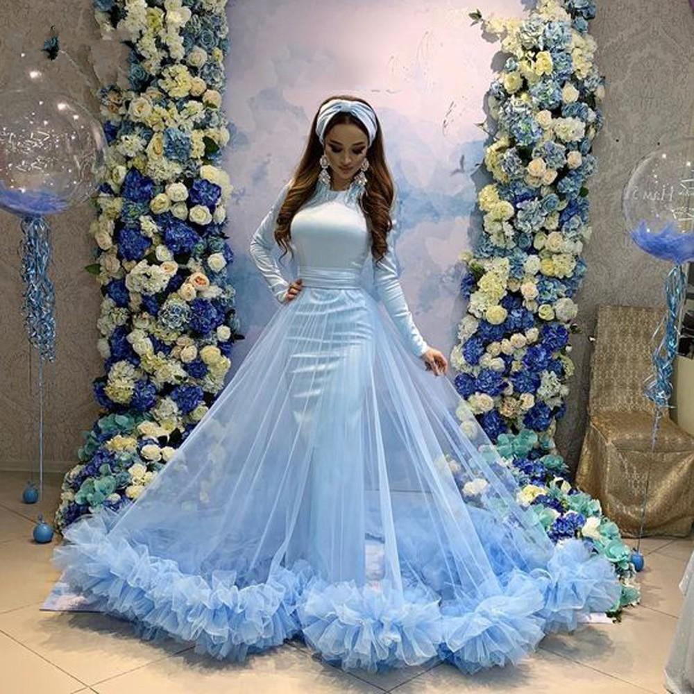 2020 Long Sexy Woman Plus Size African Blue Prom Ball Gown Dresses Tulle Skirt Arabic Evening Gowns Formal Party Dress
