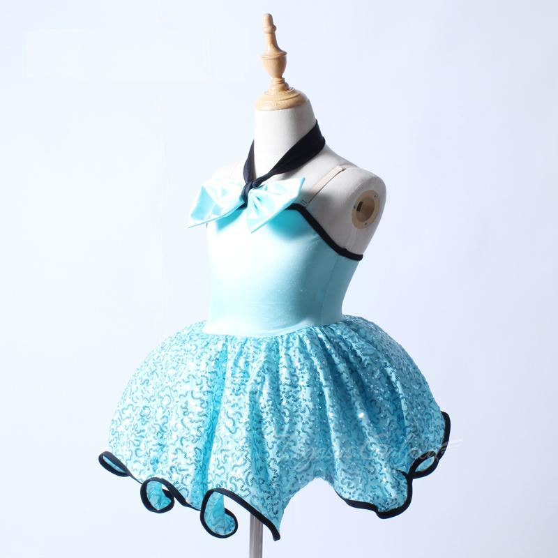 Paillettes Bow-bow Ballerina bambini Dancewear Blue Ballet Dress Ragazze Swan Lake Ballet Costume spettacolo teatrale spettacolo per le ragazze