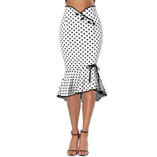 Women Formal Skirt Casual High Waist Fishtail Skirts Pencil Work Mermaid Bodycon