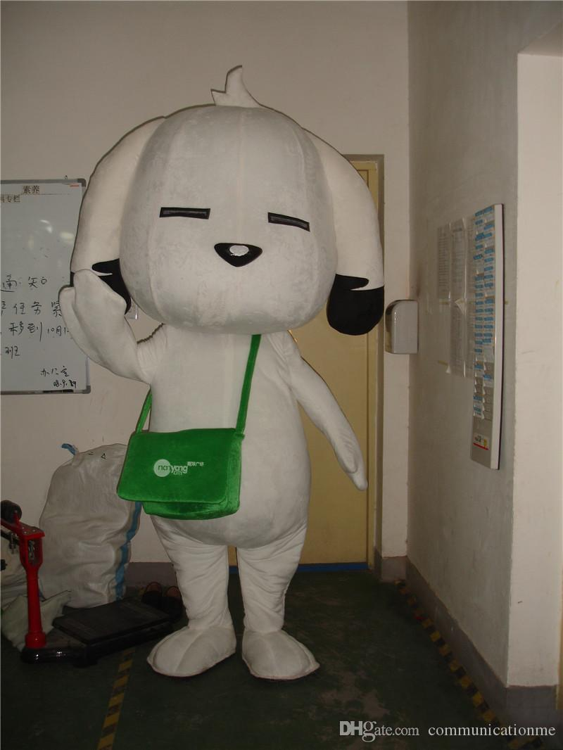 lovely dog Mascot Costume white dog with green bag for Adult animal large Halloween party event
