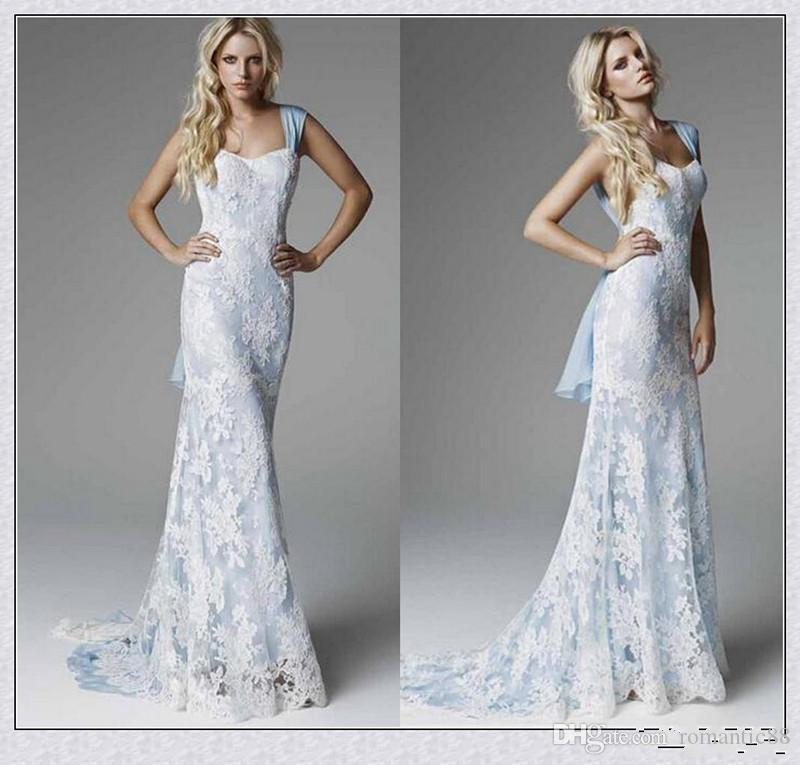 아이스 블루 레이스 웨딩 드레스 2019 섹시한 칼집 스윕 기차 우아한 저렴한 맞춤 제작 인어 신부 드레스