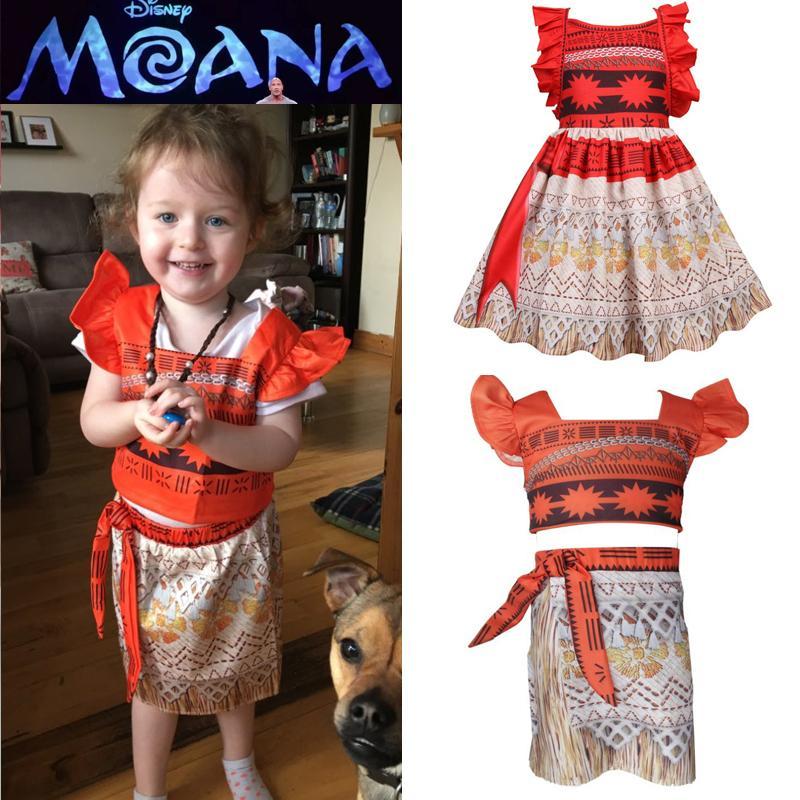 Фильм Принцесса косплей костюм Дети платье принцессы Лето Sandbeach костюмы партии Vaiana платье девочки 3-8 лет
