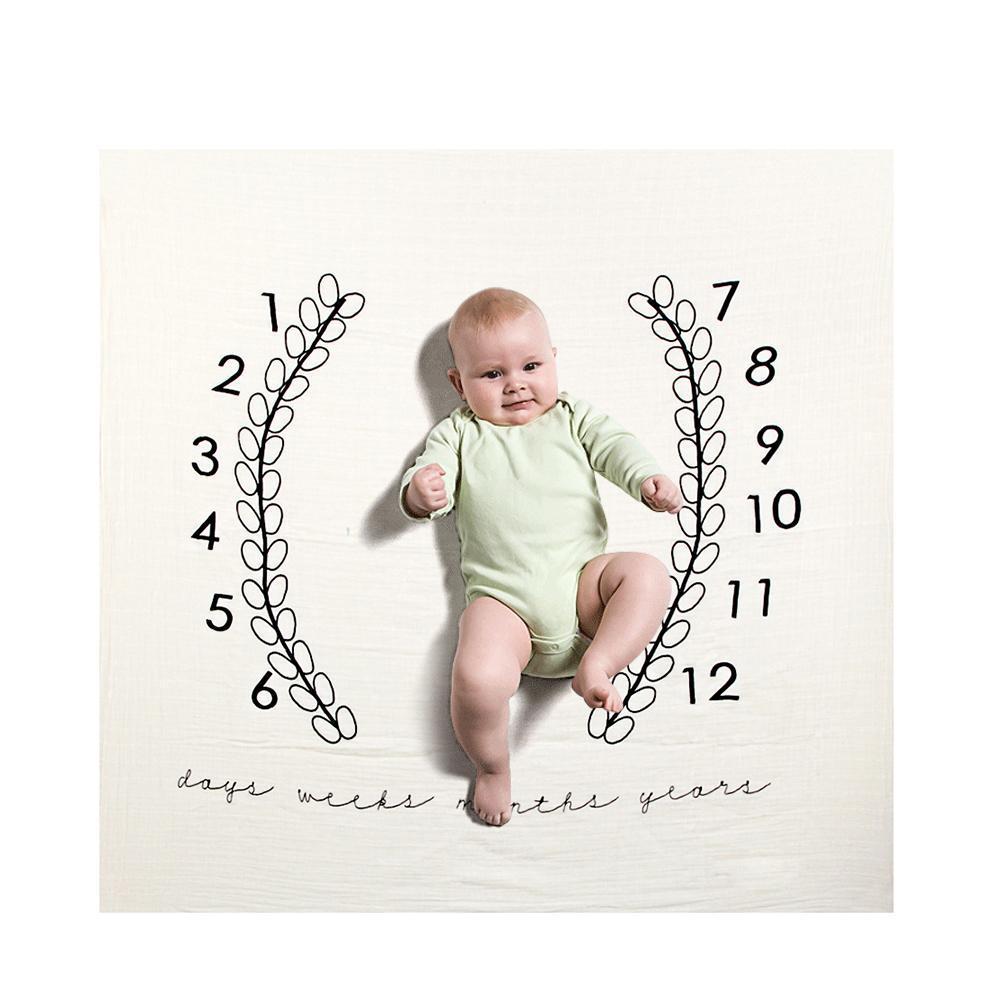 120x120cm bebé mensual Milestone mantas de algodón muchachas de los muchachos de los bebés de la foto de la Prop gran fondo para la foto del bebé brotes