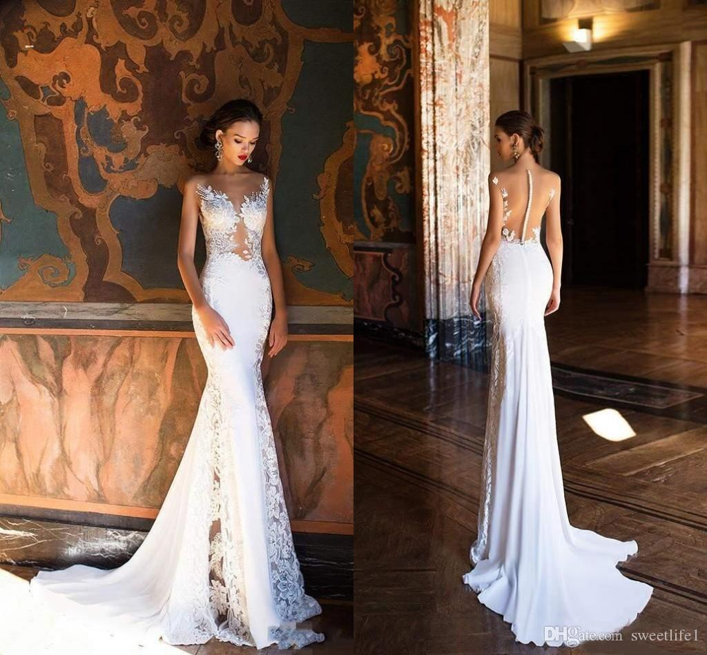 Gorgeous Mermaid White Beach Wedding Dresses 2020 Appliques Backless Plus Size Bride Dress Sexy Illusion Bodice Sleeveless
