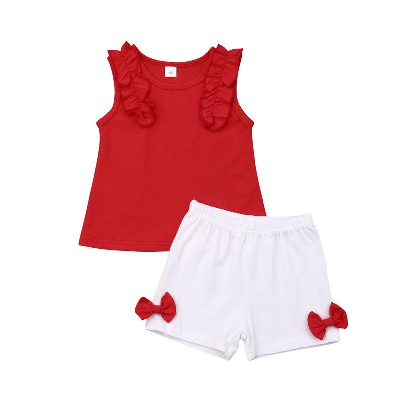 Vêtements de bébé Mode Summer Infant Vêtements Outfit Hauts sans manches + Shorts Pantalons Sunsuit Enfants Set Filles Vêtements Costume bébé