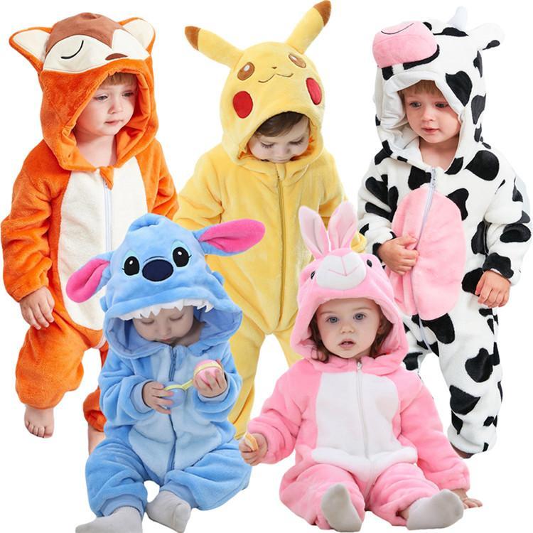 Le ragazze dei ragazzi Animal Cosplay pagliaccetti Cappuccio Abbigliamento Bambino Toddler Pigiama tuta del bambino costume inverno flanella pagliaccetto infantile
