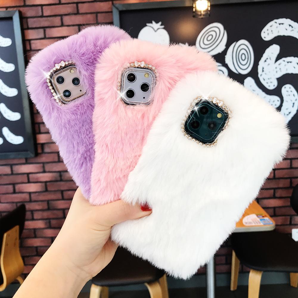 Теплый Кролик плюшевые алмазные чехлы для телефонов для iPhone 11 11Pro Max X XS XR 11 8 7 6 6S Plus мультфильм пушистые волосы задняя крышка