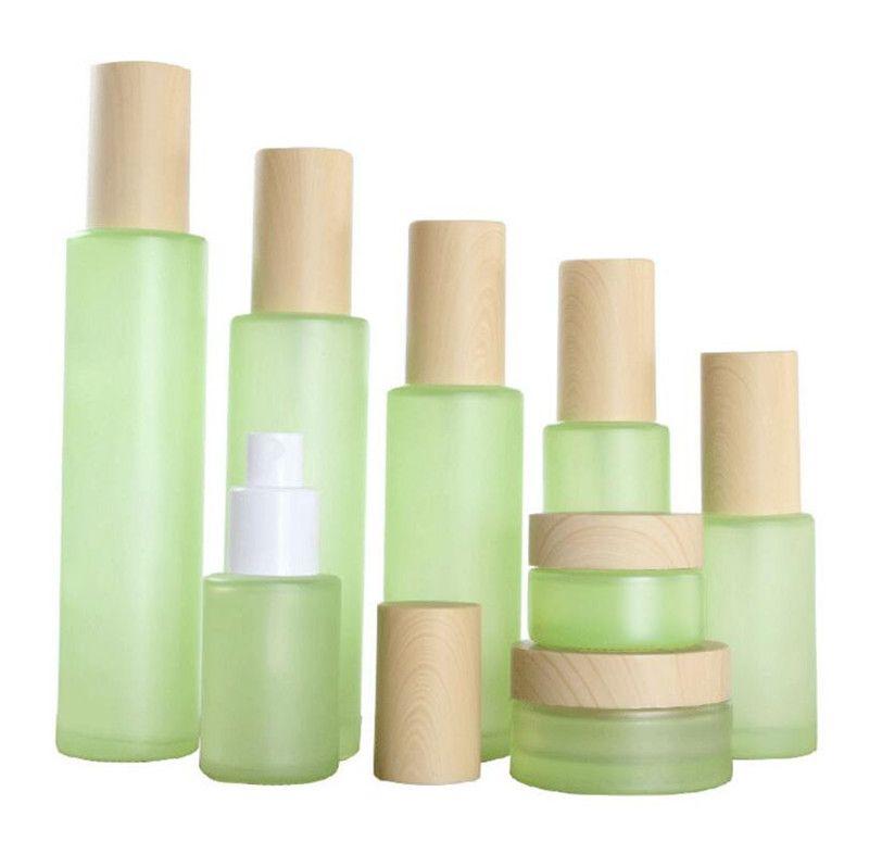 20ml 30ml 40ml 60ml 80ml 100ml 120ml Green Frosted Glass Cream Jar Mist Spray Lotion Pump Bottle with Imitation Wooden Lids Caps