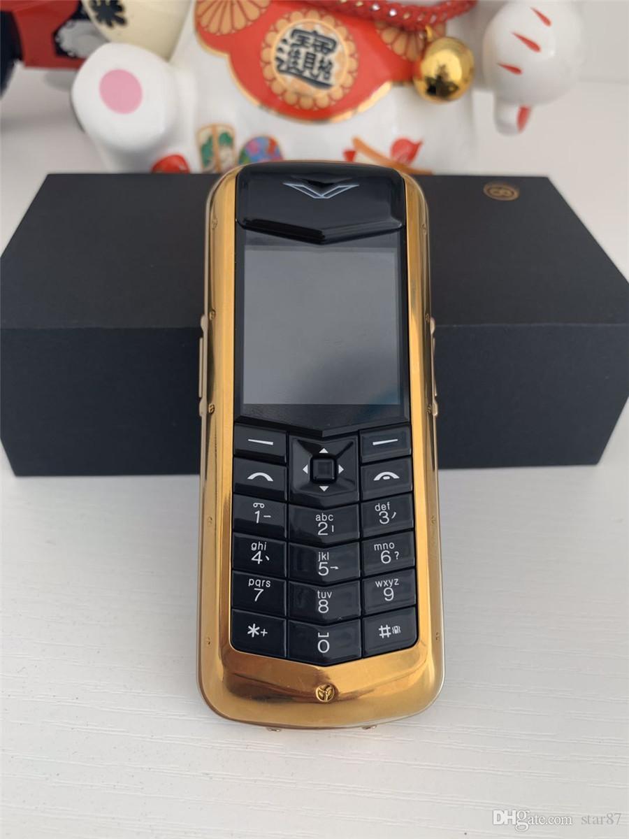 مقفلة K8 + بار فاخر معدن الهاتف الخليوي المزدوج سيم التوقيع لا CAMER جلدية الهاتف العودة بلوتوث كوكبة ريترو الذهب موبايل