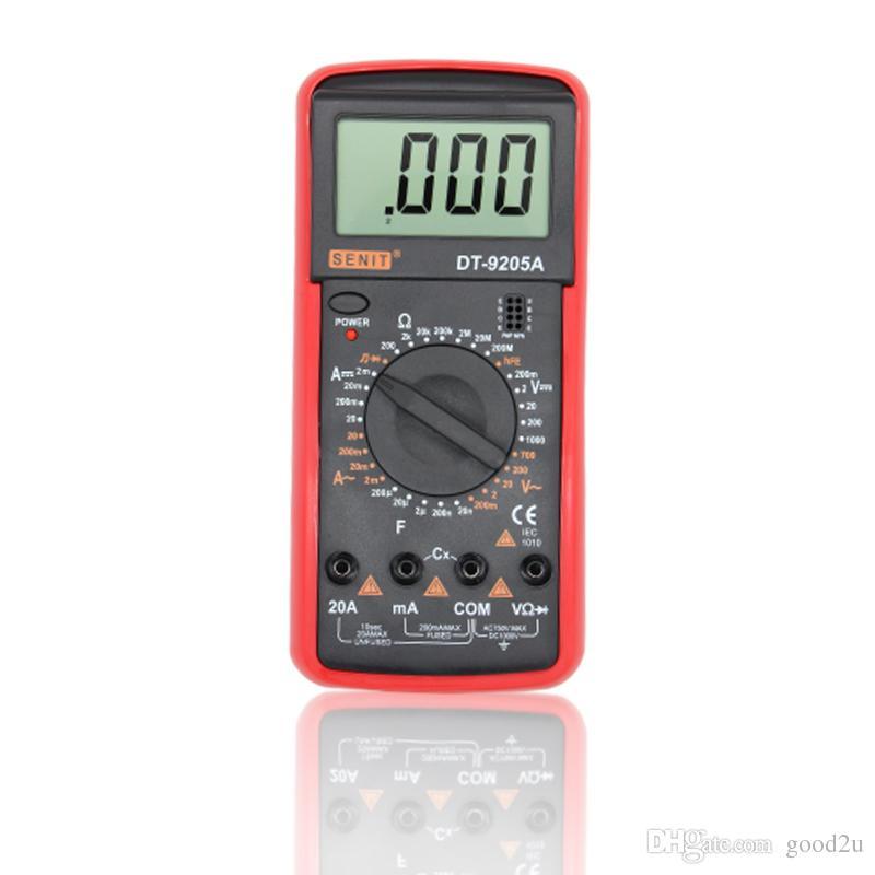 Freeshipping DT9205A Amp Medidor Tester Multímetro Digital Portátil DMM Capacitância Triode hFE Teste Multimetro Amperímetro Multitester