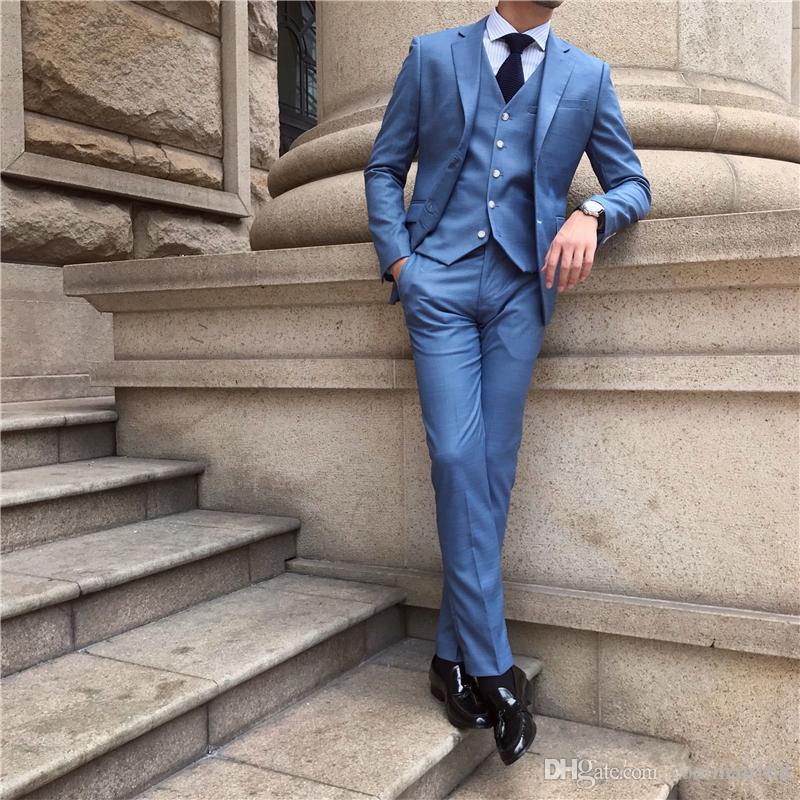 Новый синий жених смокинги Notch лацкане жениха мужская свадебное платье мода человек куртка блейзер 3шт костюм (куртка + брюки + жилет + галстук) 762