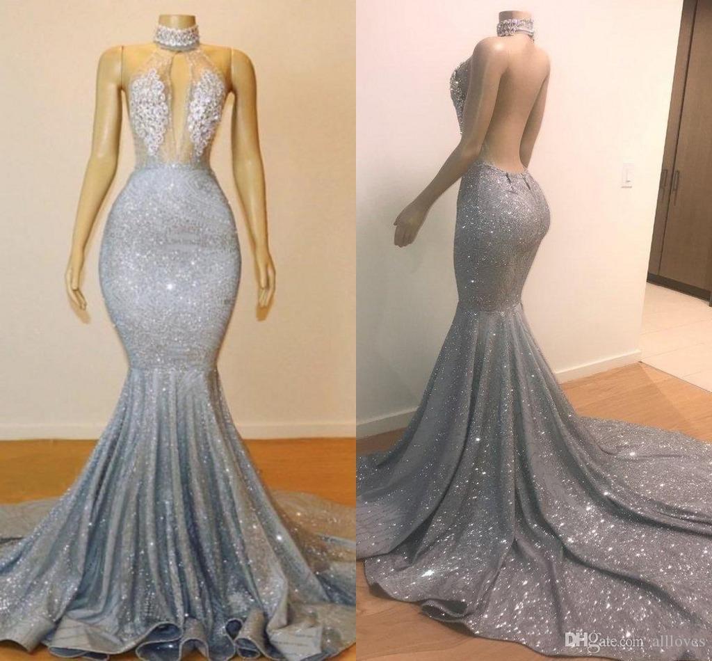2020 Brilhante prata lantejoulas Mermaid Prom vestidos longos Hater Backless vestidos de noite Appliqued Lace árabe formal do partido vestidos AL3946