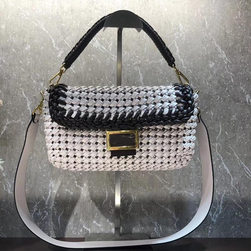 Çanta Çapraz Vücut Çanta Çantalar Çantalar Omuz Kadın Moda Tığ Renk Eşleştirme Dokuma Çanta Çıkarılabilir Kayış Cutfk