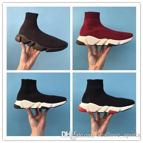 Balenciaga Speed Low Slip-On 2019 ACE Designer Casual Socken Schuhe Speed ​​Trainer Schwarz Rot Triple Black Fashion Socken Sneaker Trainer Casual Schuhe 36-45 6-9