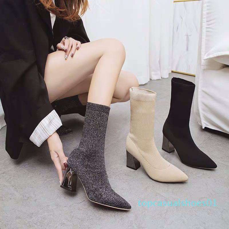 Pointy Thick Heels Socks Boots Womens