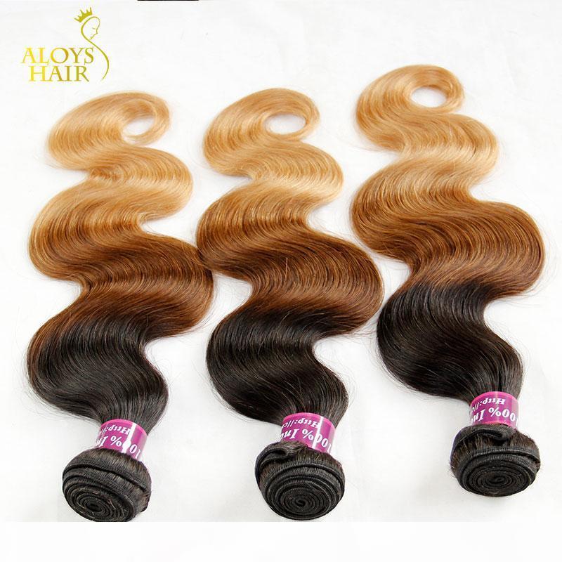 Ombre Hint Remy Saç Dokuma Sınıf 8A Ombre Hint Vücut Dalga Bakire İnsan Saç Uzantıları 3PCS Üç Ton 1b 4 27 # Kahverengi Sarışın