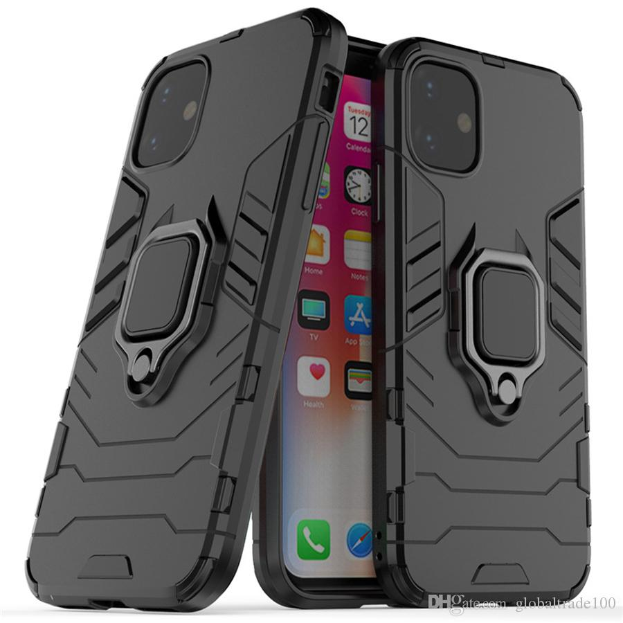 Гибридный жесткий чехол противоударный Броня С Finger Stand кольцо для iPhone 11 Pro XS Max XR 7 8 Plus Xiaomi Huawei Samsung Обложка