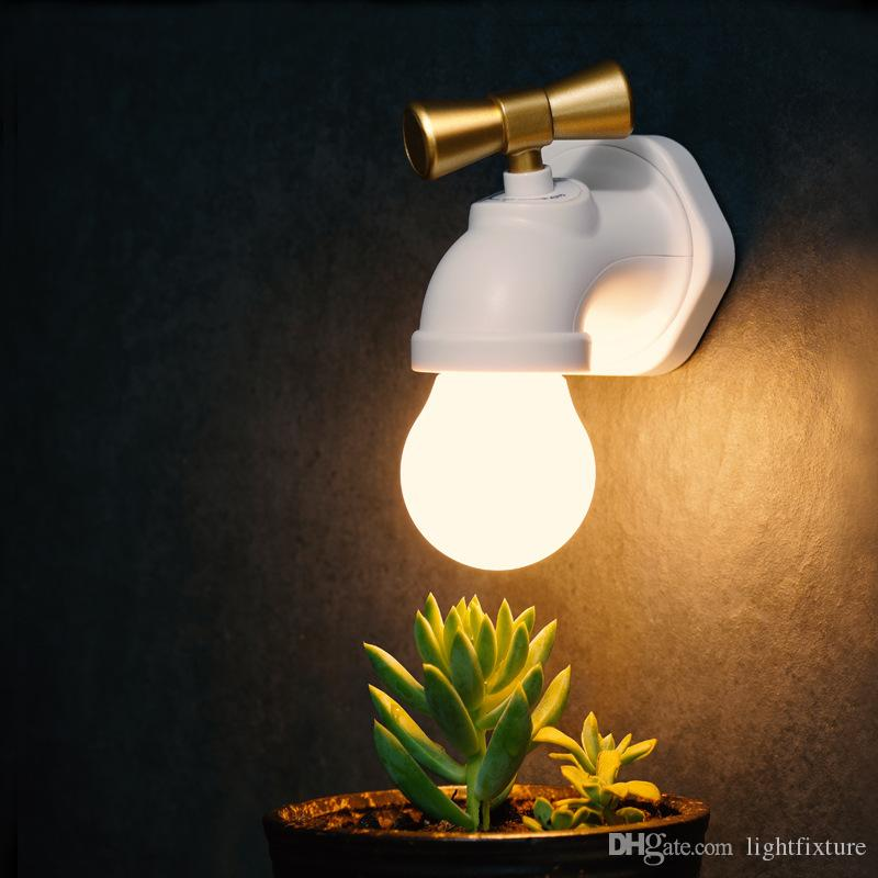 Yaratıcı Musluk Gece Işıkları USB Şarj Ses Kontrol Indüksiyon Yatak Odası Başucu Lambası Koridor Sundurma Merdiven LED Duvar Lambası