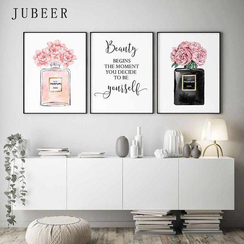 Parfüm Şişesi Wall Art Parfüm Posterler ve Baskılar Güzellik Başlıyor Alıntı Baskı Suluboya Çiçek Resimleri Yatak Odası Dekorasyon