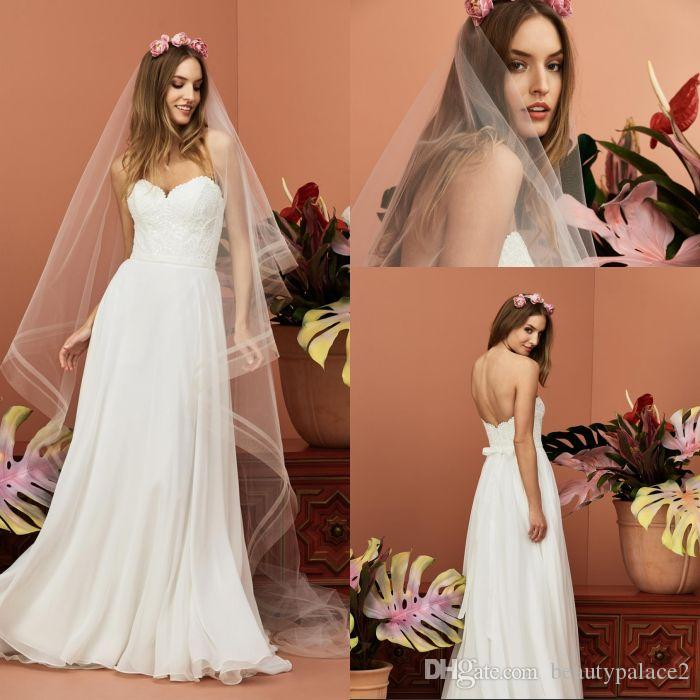 Low Price A Line Sweetheart Beach Cheap Wedding Dresses Sweep Train White Chiffon Lace Top Free Shipping Bridal Wedding Gowns Low Back
