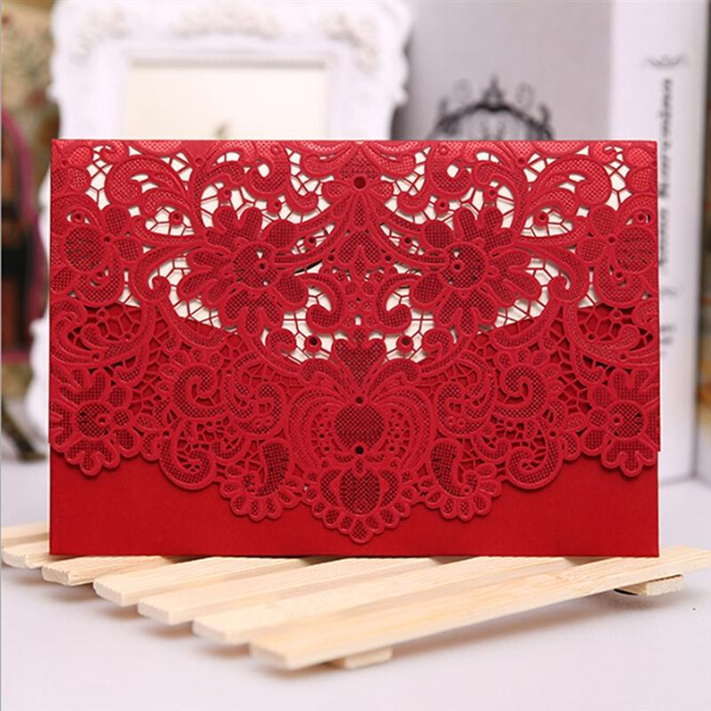 1 Set Retro Wedding Invitation Cards Kit with Envelopes Seals Personalized Printing Elegant Lace Favor Wedding Party Supplies