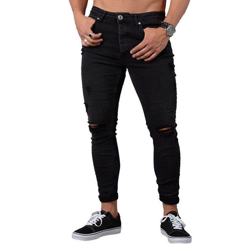 2018 Mavi Moda Sıska Rahat Kot Erkekler Vintage Denim Kalem Pantolon Streç Pantolon Seksi Ince Delik Erkek Fermuar Kot Yırtık