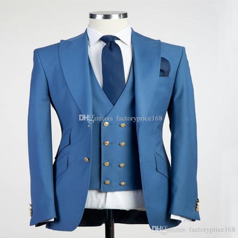 Fashionable Two Buttons Groomsmen Peak Lapel Groom Tuxedos Men Suits Wedding/Prom/Dinner Best Man Blazer(Jacket+Pants+Tie+Vest) A158