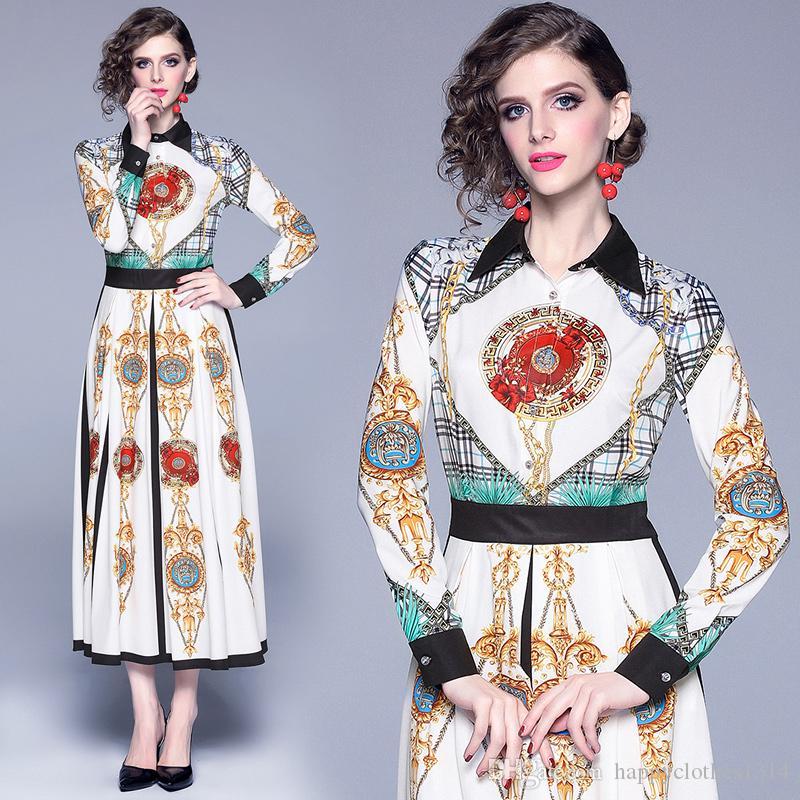 2020 Şık Klasik Ekose Giydirme Plus Size Kadınlar Uzun Kollu Yaka Boyun Baskılı Bayanlar dizayn edilmiş elbiseler İnce Moda Ofisi Gömlek Elbise