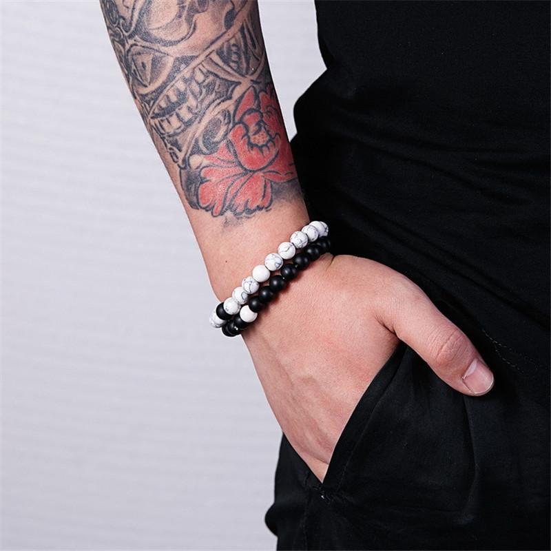2 шт / комплект Trendy Природный камень белый и черный Инь Ян бисера браслеты Шарм бусы Strand Пары Friendship Расстояние Браслет