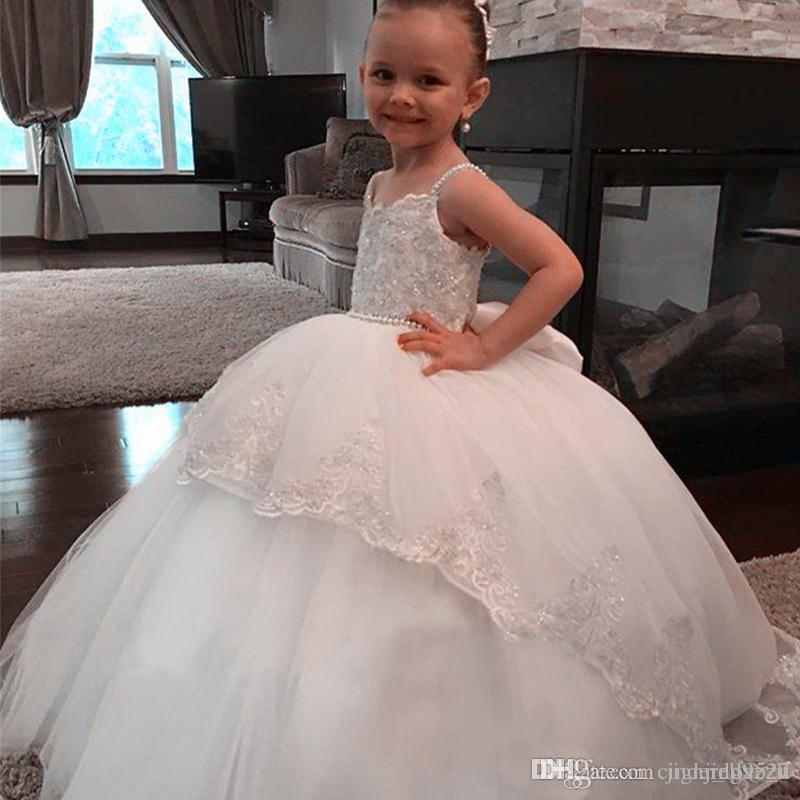 Prinzessin Weiße Blume Mädchen Kleider Bottom Lace A Line Zurück Mit Bogen Jewel Hals Erstkommunion Kleider Mädchen Pageant Kleid Nach Maß