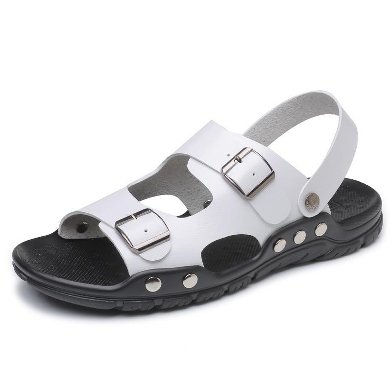 Moda transpirable en los zapatos Diapositivas Hombres Nuevos Hombres al aire libre Sandalias de playa iluminadas Casual Slip Sandalias de alta calidad de los hombres Verano