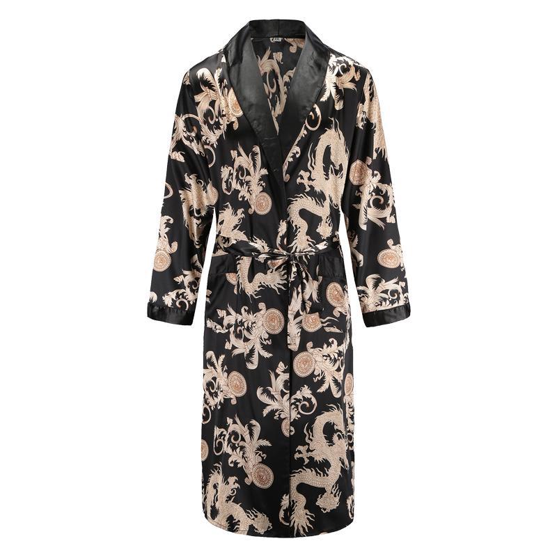 Männer Herren Robe mit langen Ärmeln Bademantel Silky Satin Kimono Drachen Drucken Pyjamas Bademantel Nacht Bademantel
