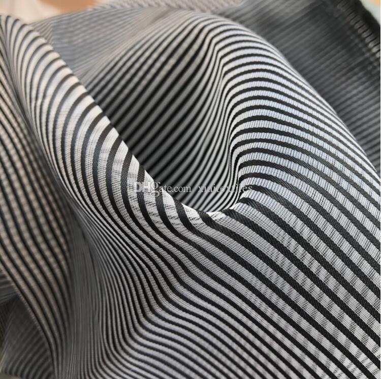 Encrypted Eugene Yarn Black Stripe Transparent Hard Mesh Fabric diy home textiles patch wedding tweed mannequin fabric telas por metro C577
