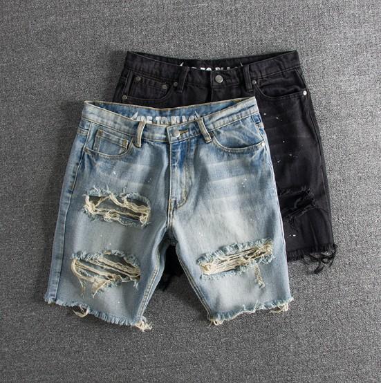 Hommes Jeans Mode Lavé millésimé éclaboussée d'encre grand trou Hommes Shorts Denim avec 2 couleurs Taille asiatique S-2XL