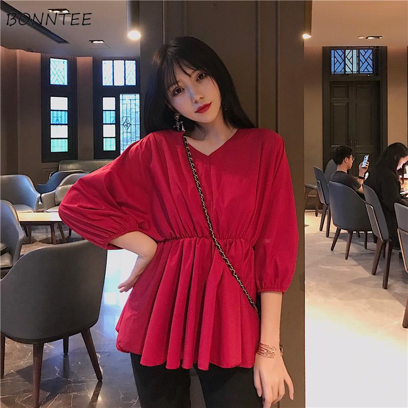 Shirts Women Chiffon Elegant Korean Style Comfortable Simple Solid Loose Womens Clothing Trendy Leisure V-Neck All-match Summer