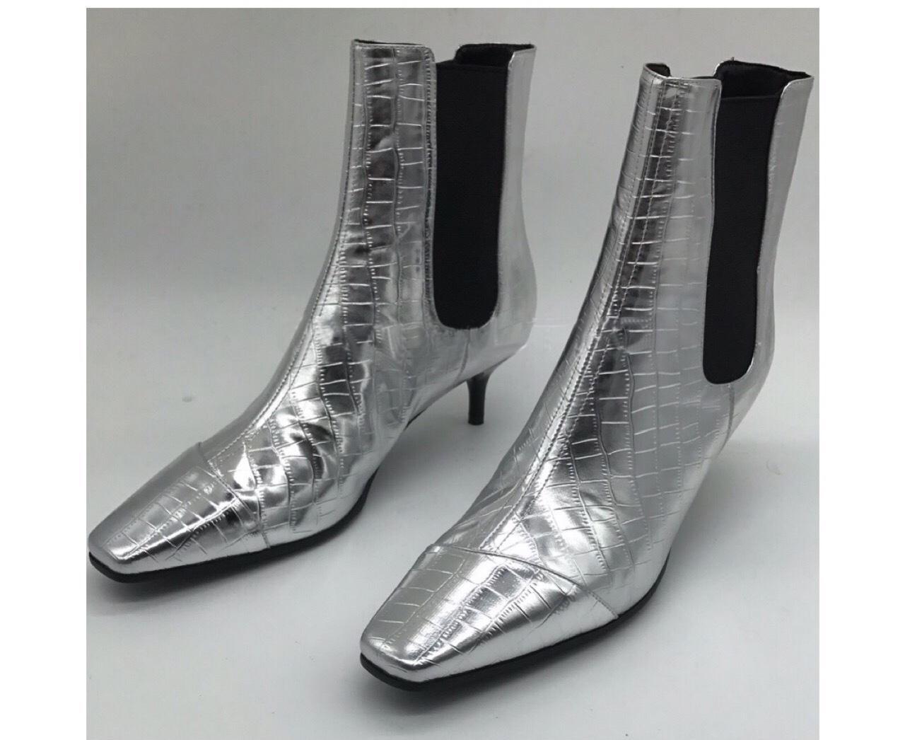 2019 Nuovi stivali corti in vernice argento tacco alto blu stivaletti stile punta quadrata punta alta per le scarpe da donna