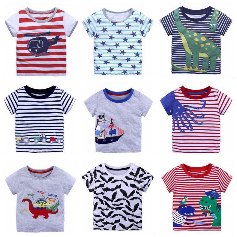 Camisetas de algodão de verão Crianças Roupas Meninos Criança Impressão de Manga Curta Tops Dinossauro Do Bebê Tarja Tees Moda Animal Camisa Meninas Roupas C4129
