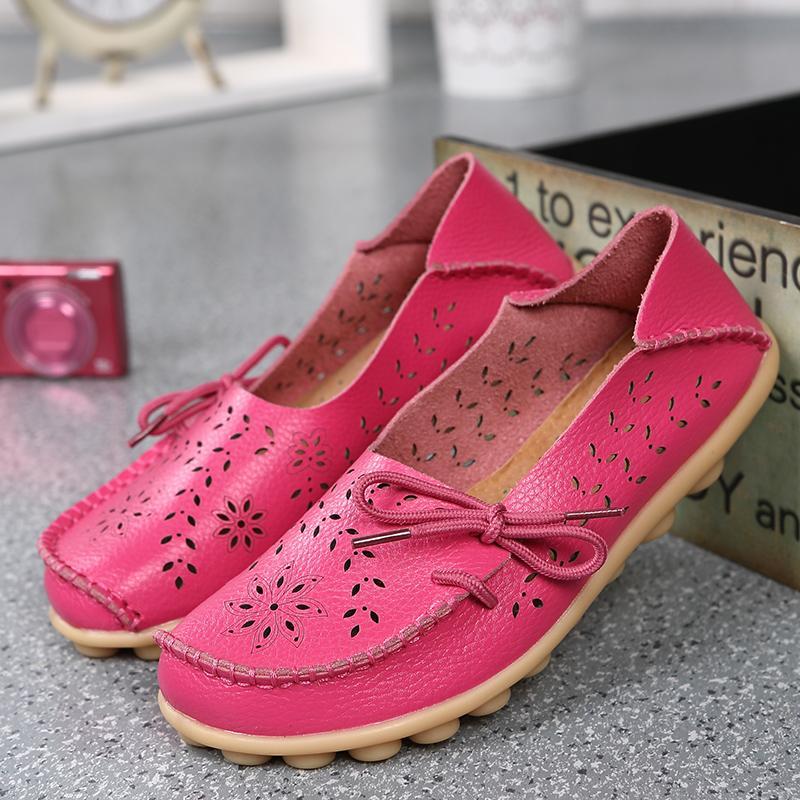 Hot Sale-er neue Loch niedrige Hilfe flachen Boden Frauen Schuhe Komfort Krankenschwestern Schuhgröße Mutter Schuhe aus echtem Leder Schuhe