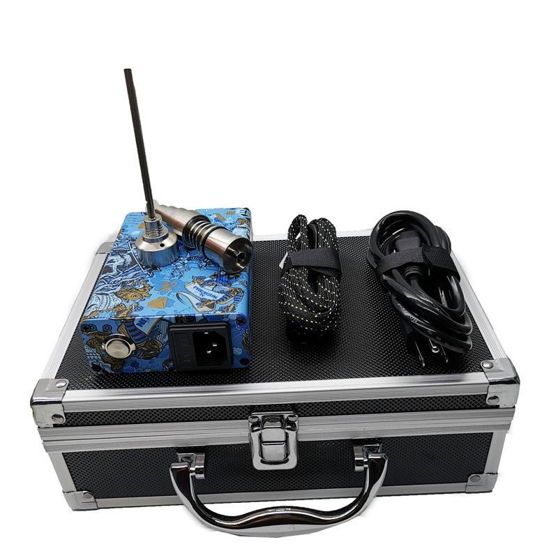 Vape boîte vaporiseur mod dab électrique rnail plate-forme portable dabber cire titane tamponnant vaporiseur boîte numérique PID pour bong d'eau en verre