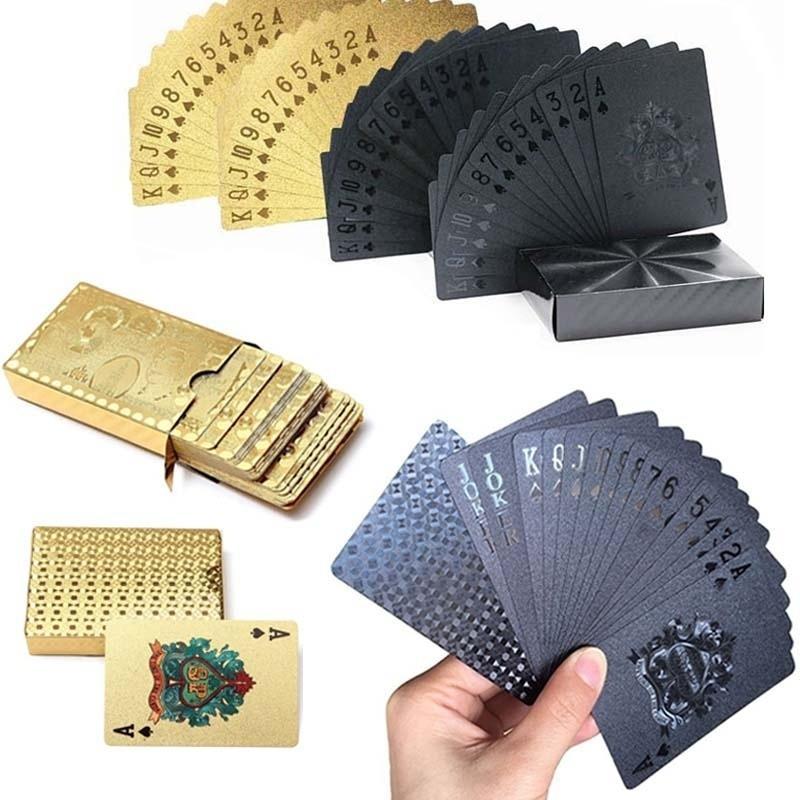 الذهبية / أسود غير لامع البلاستيك بطاقات بوكر PET ماء بطاقات اللعب للماء جديدة لألعاب الطاولة