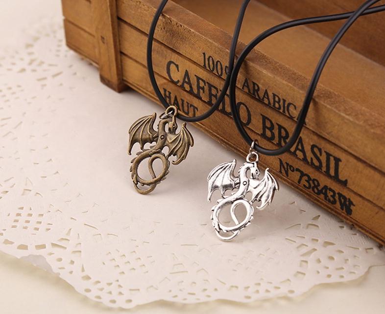 Мода бронзовый посеребренный кулон дракон ожерелье колье Шарм черный кожаный шнур завод ручной работы ювелирные изделия оптом